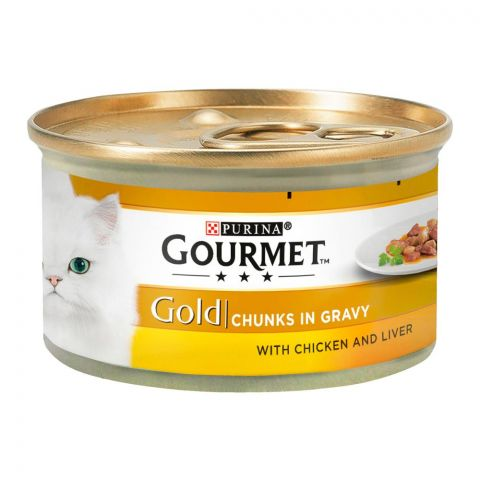 Purina Gourmet Gold Chunks In Gravy, With Chicken & Liver, Cat Food, 85g, Tin
