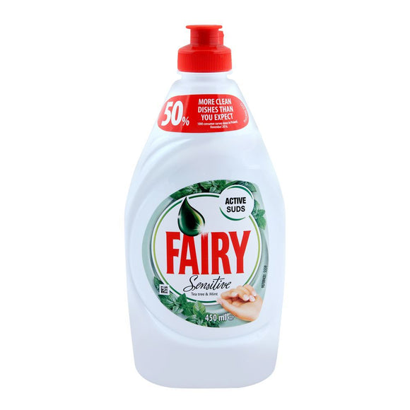 Fairy Dish Wash Liquid, Sensitive Tea Tree & Mint 450ml