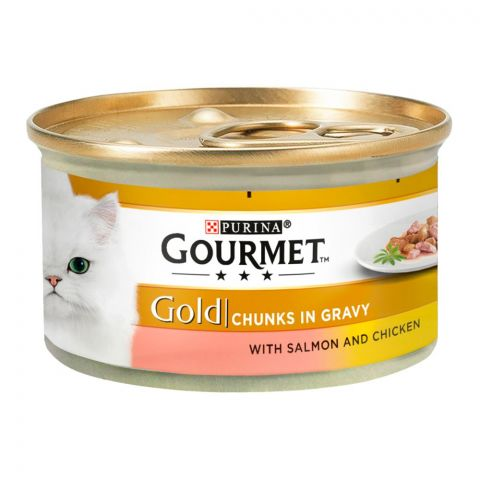 Purina Gourmet Gold Chunks In Gravy, With Salmon & Chicken, Cat Food, 85g, Tin