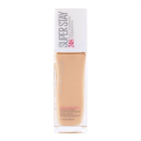 Maybelline New York Superstay 24h Foundation, 21 Nude Beige (IMPORTED) (4761315868757)