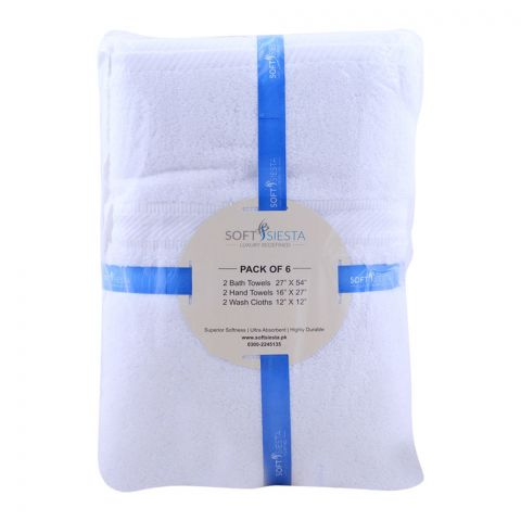 Soft Siesta Bath + Hand + Wash Towels, Pack Of 6, White (4768478134357)