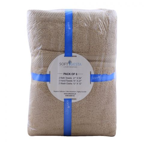 Soft Siesta Bath + Hand + Wash Towels, Pack Of 6, Beige (RANDOM COLOUR AND DESIGN)