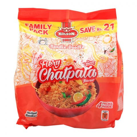 Kolson Fiery Chatpata Instant Noodles, Family Pack, 4 Count (4749857423445)