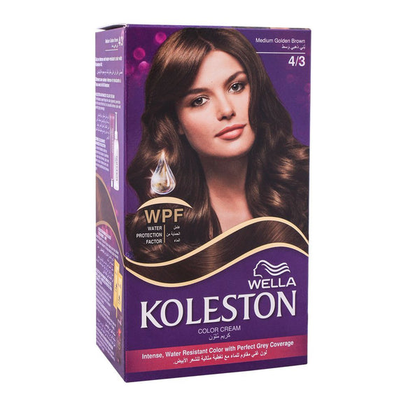 Wella Koleston Color Cream Kit, 4/3 Medium Golden Brown