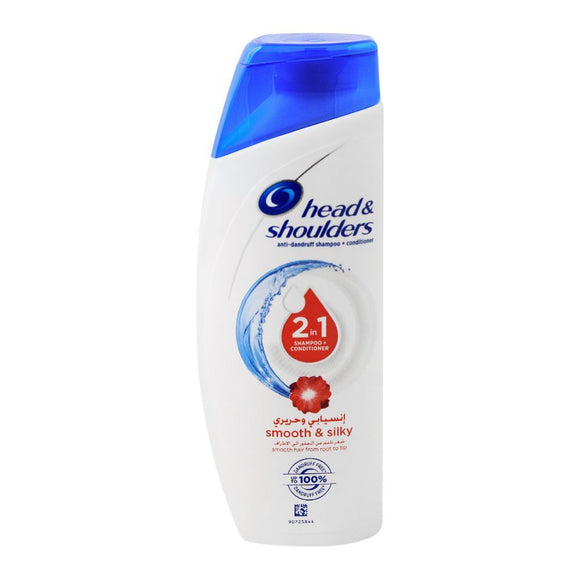 Head & Shoulders 2-In-1 Smooth Silky Anti-Dandruff Shampoo + Conditioner, 190ml