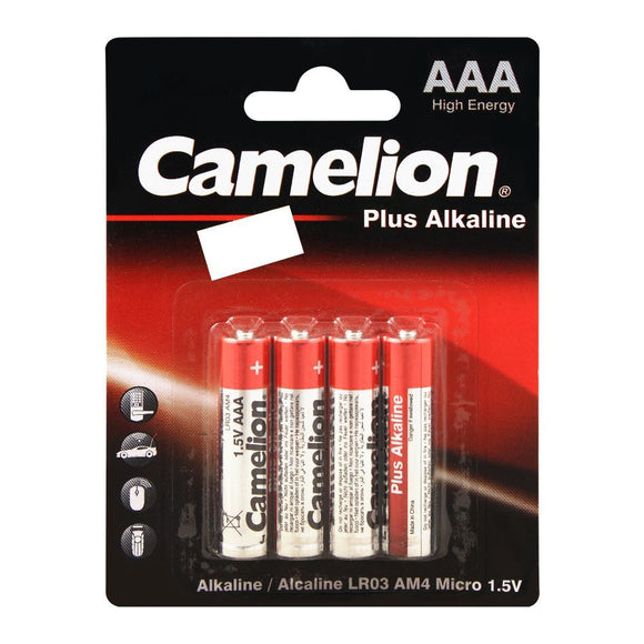 Camelion Plus Alkaline AAA Battery, 4-Pack, LR03-BP4 (4703236620373)