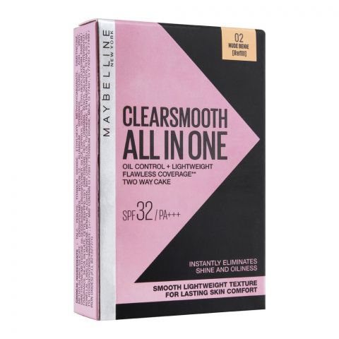 Maybelline New York Clear Smooth All In One Two Way Cake Refill, 02 Nude Beige (IMPORTED) (4769933099093)