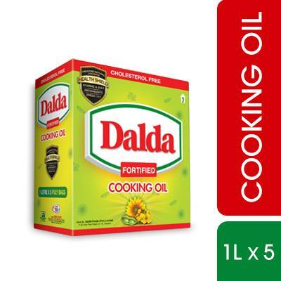 Dalda Cooking Oil Pakwan Tail - Pouch 1 Litre x 5 Packs (4611899293781)