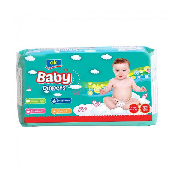 OK Baby Diapers Large 32 PCS (4735329206357)