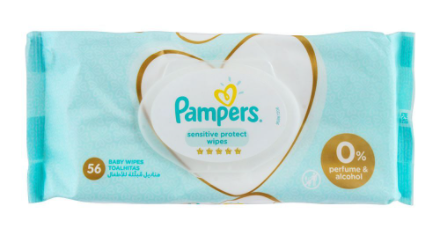 Pampers Sensitive Protect Wipes, 0% Alcohol & Perfume, 56-Pack (4788451541077)