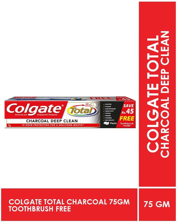 Colgate Total Charcoal Toothpaste 75g with free brush