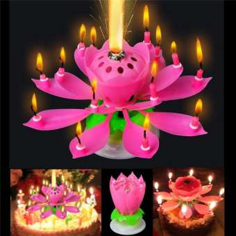 Musical Flower Rotating Birthday Candle With Happy Birthday Sound For Party Celebration (4624237101141)