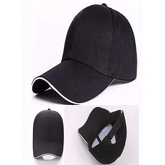 Stylish Plain Black Cap with White Border