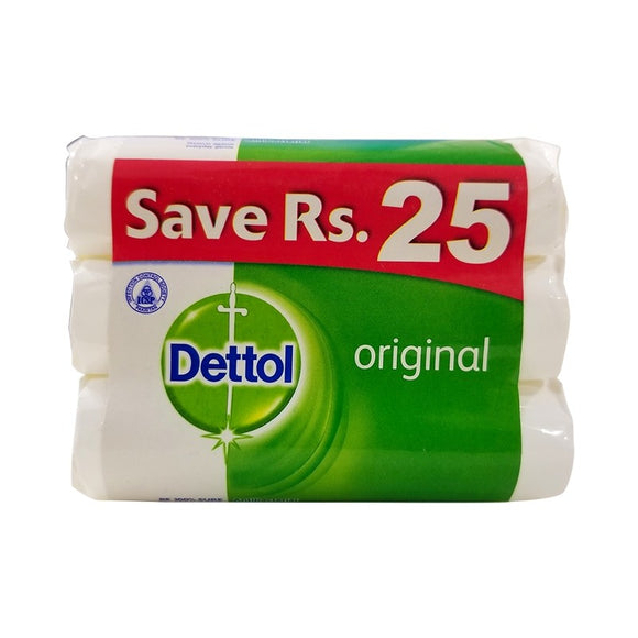 Pack of 3 Dettol Original Anti-Bacterial Soap 255gm
