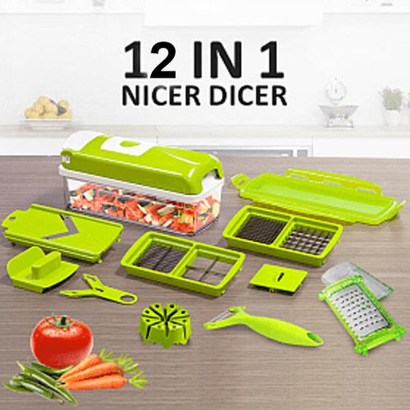 12 Pcs Nicer Dicer Fruit & Vegetable Cutter (029)