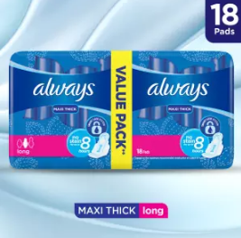 Always Thicks Maxi Sanitary Pads, Long, Value Pack 18pcs