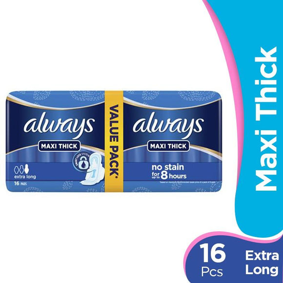 Pack of 16 Always Maxi Thick Extra Long Pads (4611957129301)