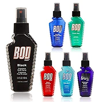 Bod Man Fragrance Body Spray Black, Really Ripped Abs, Most Wanted, Fresh Guy, Midnight Reign,Blue Surf