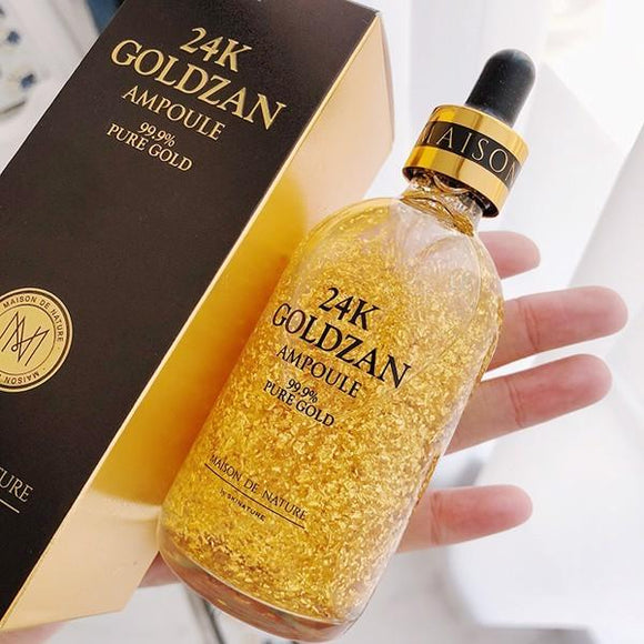 Skin Nature 24K Goldzan Ampoule 99.9% Pure Gold - Whitening Face Serum Anti-Aging Day Creams & Moisturizers Gold Moisturizer Protects from Sun damage 100ML (4614400901205)