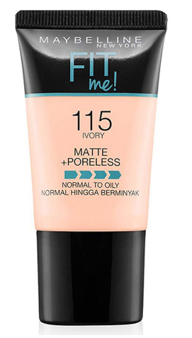 Maybelline Fit Me Matte + Poreless Liquid Foundation, 115, Ivory, 18ml (IMPORTED) (4832205865045)