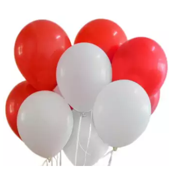 Red & White Latex Balloons Pack of 50 Pieces (4625678663765)