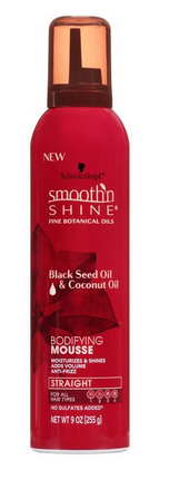 Schwarzkopf Smooth'n Shine Bodifying Mousse, Black Seed Oil & Coconut Oil, 255g