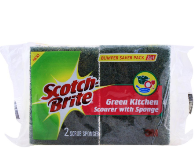 Scotch Brite Green Kitchen Scourer With Sponge Bumper Saver Pack, (4807138574421)