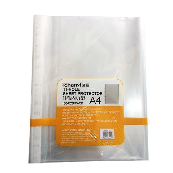 Chanyi Sheet Protector A4 Size 5C 100Pcs Pack