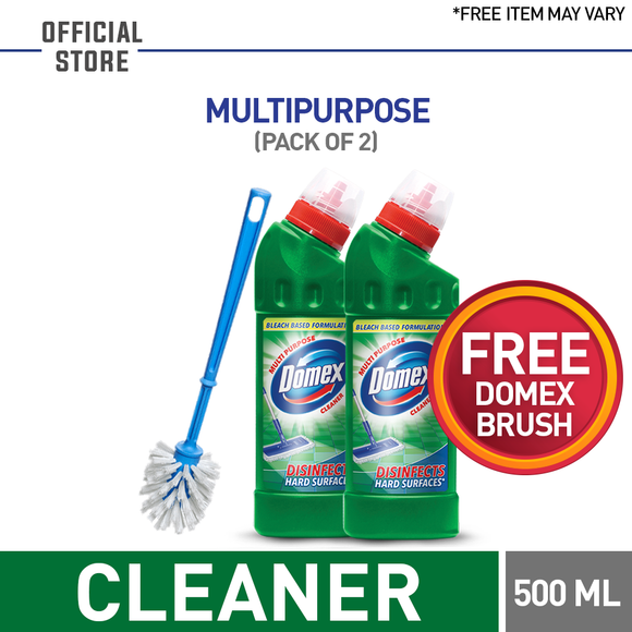 Free Domex Brush With Pack of 2 Domex Multipurpose Cleaner 500 ML (4827653505109)