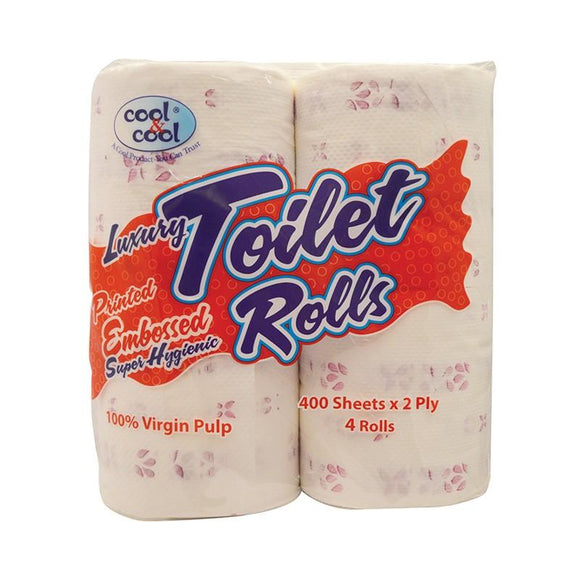 Cool and Cool Printed Embossed Toilet Roll 400s Pack of 4
