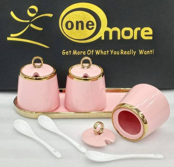 Seasoning Pot Spice Container With Ceramic Sugar Bowl 3pcs set With Tray (PINK) (4819255951445)