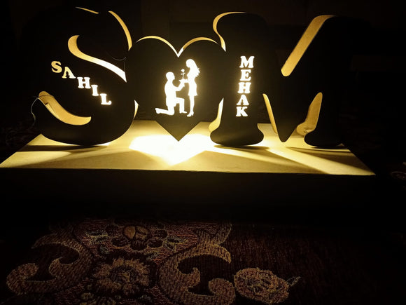 Customized couple alphabet name wooden led frame (4842988404821)