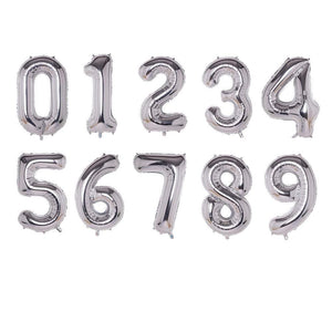 Golden And Silver Foil Balloons 32 Inches Big Numbers For Birthday Helium Digits Bunting Hanging Banner Party 0 to 9 Price is Per Piece Included Pipe To Inflate (4631240343637)