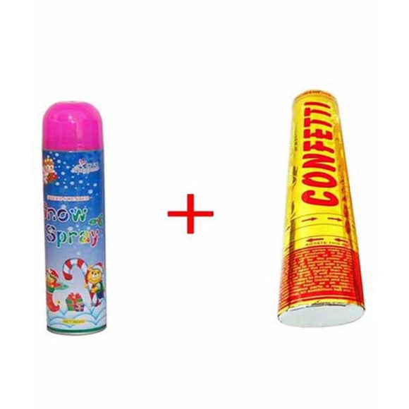Pack of 2 Party Popper with Snow Spray