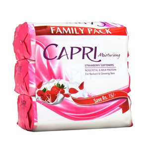 Capri - Capri Moisturizing Strawberry Softeners Soap (Family Pack) - 420gm