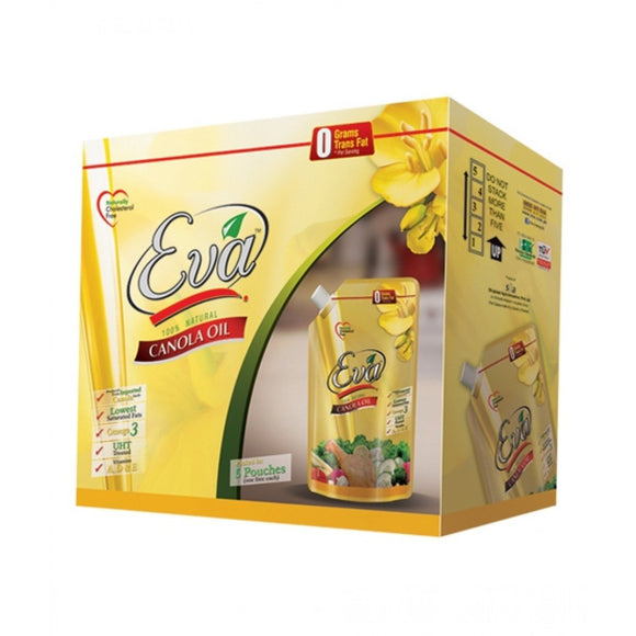 Eva Canola Cooking Oil Tail 1 Litre X 5 Pouches