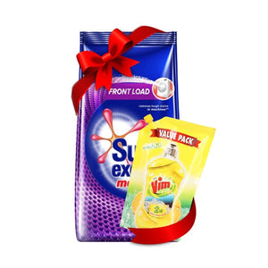Pack of 2 Surf Excel Matic Front Load Washing Powder 1kg &  Vim Lemon Pouch 140ml