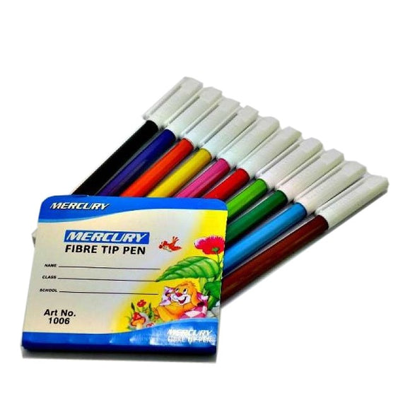 Mercury Fiber Tip Pen Multicolor Pack Of 10