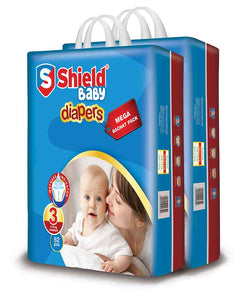 Pack of 2 Sheild Baby Diapers Small Pack Large 54Pcs