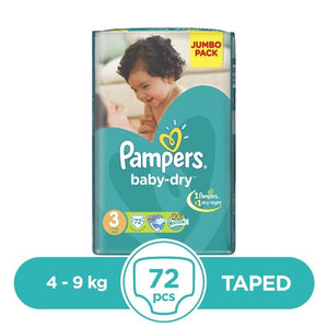 Pampers Taped 4 To 9kg 72Pcs
