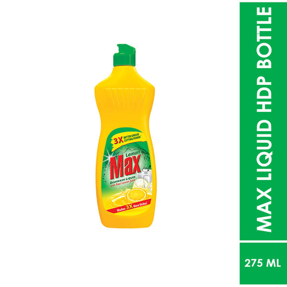 Lemon Max Dishwash x3 Liquid Bottle New, 275ml (4836876288085)