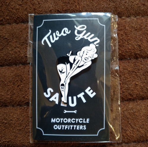 Two Gun Salute Pinup Girl Pin