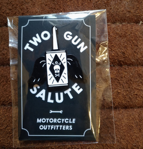 Two Gun Salute Oil Can Pin