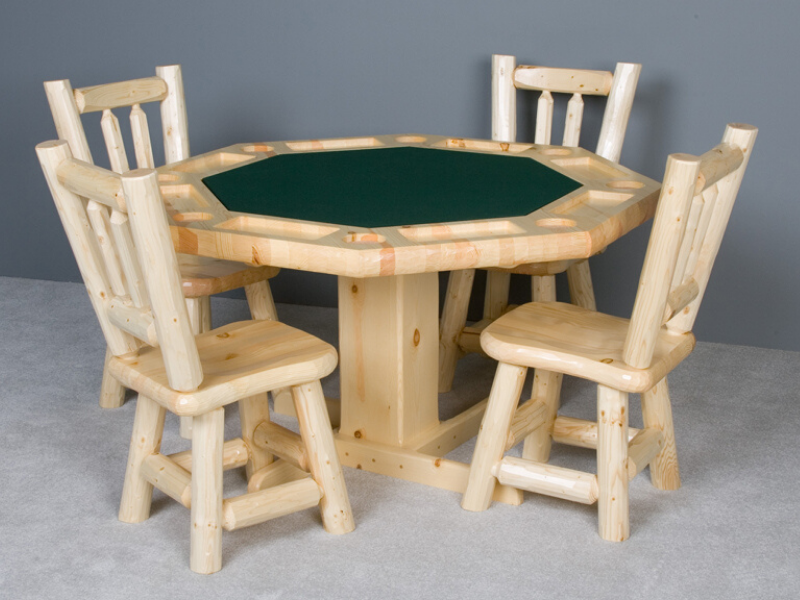 Viking Log Furniture - Log Poker Table Clear Finish