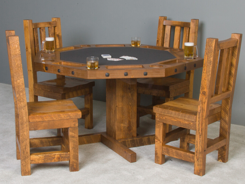 Viking Log Furniture - Log Poker Table Honey Pine Finish