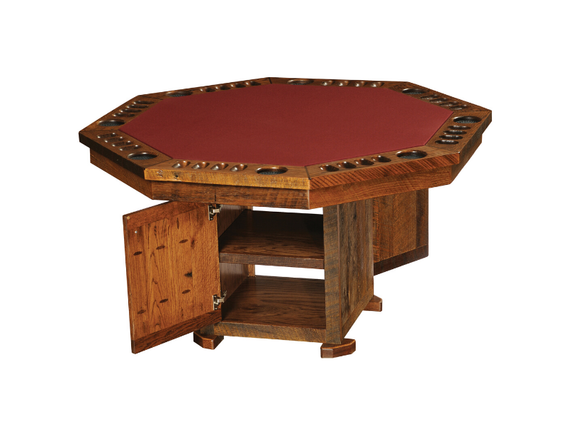 Fireside Lodge Barnwood Poker Table with Storage Base