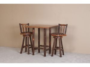 Viking Log Furniture - Sawtooth Hickory Pub Table Set with Sawtooth Hickory Bar Stools Cushion Seat
