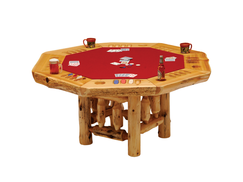 Fireside Lodge Cedar Poker Table with Log Framework Base