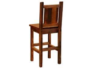 Fireside Lodge Barnwood Artisan Barstool with Back