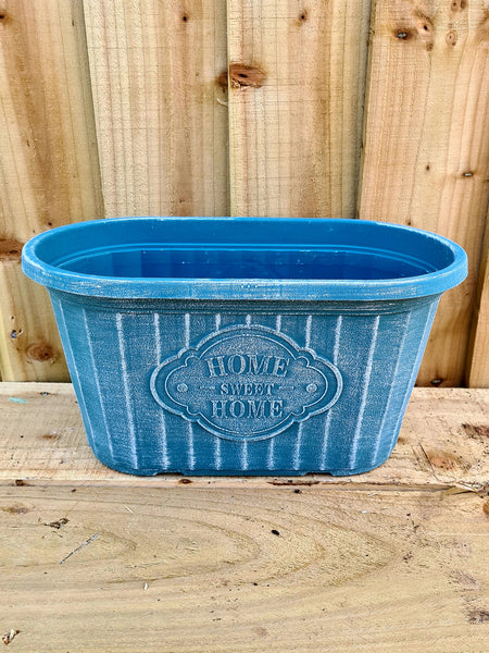 Home Sweet Home Oval Planter (Teal)